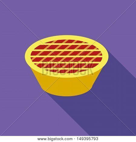 Thanksgiving pie icon in flat style isolated with long shadow vector illustration