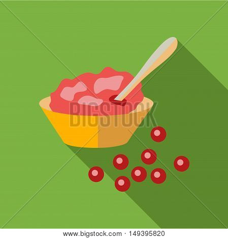 Cranberry sauce icon in flat style isolated with long shadow vector illustration