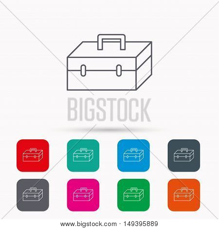 Toolbox icon. Repair instruments sign. Linear icons in squares on white background. Flat web symbols. Vector