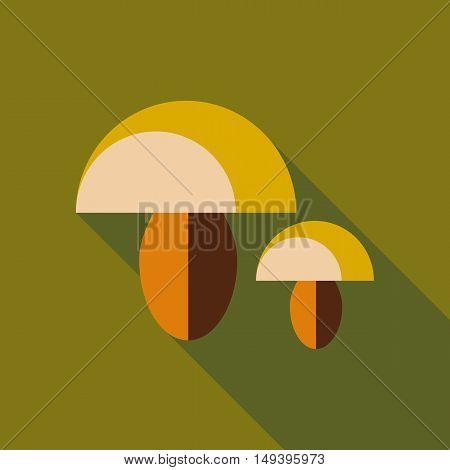 Mushroom icon in flat style isolated with long shadow vector illustration