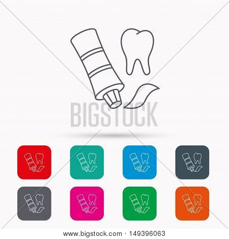 Toothpaste icon. Teeth health care sign. Linear icons in squares on white background. Flat web symbols. Vector