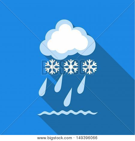 Cloud with snow and rain icon in flat style isolated with long shadow vector illustration