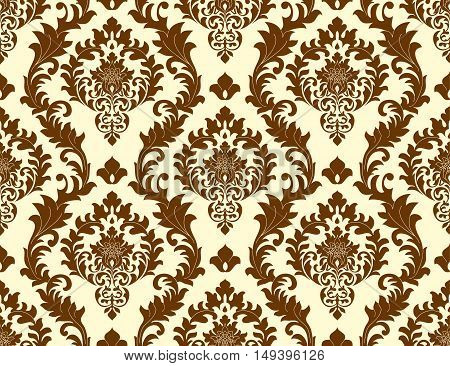 Vector seamless damask pattern as a background. Old fashioned luxurious classic baroque stamp to create wallpaper textiles curtains postcards.