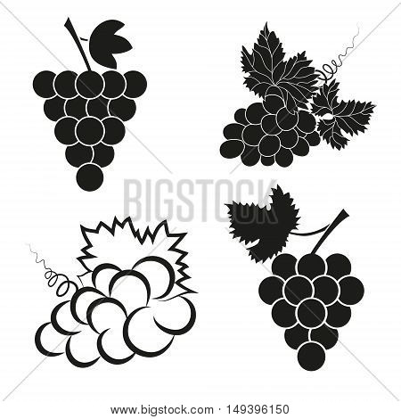 Vector illustration, set of abstract grapes icons.