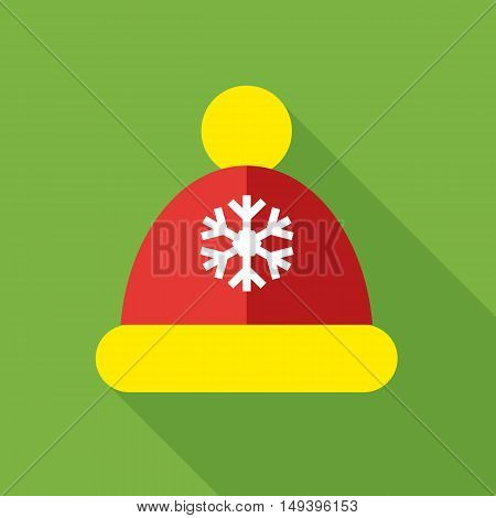 Knitted red cap icon in flat style isolated with long shadow vector illustration