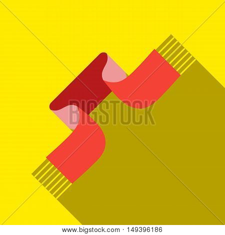 Winter knitted scarf icon in flat style isolated with long shadow vector illustration