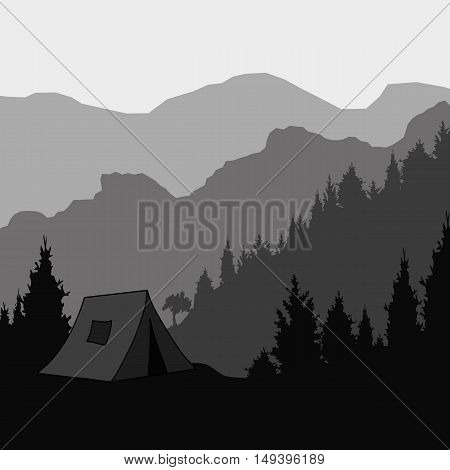 Silhouette of the mountain and the tent for trekking vector illustration.
