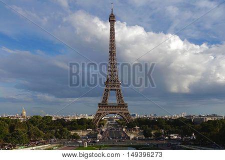 Paris, France, September 24, 2016: The Eiffel tower in Paris, France.