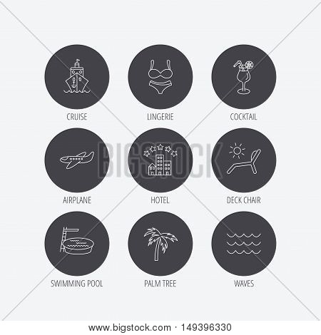 Cruise, waves and cocktail icons. Hotel, palm tree and swimming pool linear signs. Airplane, deck chair and lingerie flat line icons. Linear icons in circle buttons. Flat web symbols. Vector