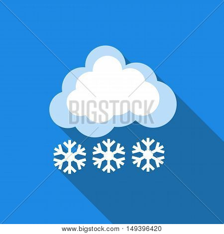 Cloud with snow icon in flat style isolated with long shadow vector illustration