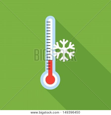 Thermometer icon in flat style isolated with long shadow vector illustration