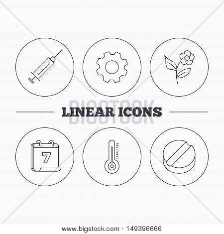 Thermometer, syringe and tablet icons. Flower linear sign. Flat cogwheel and calendar symbols. Linear icons in circle buttons. Vector