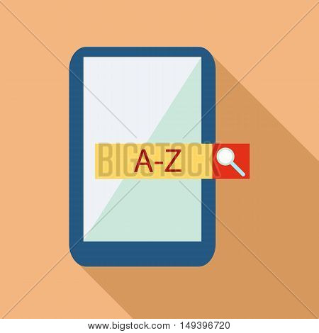Mobile app with translator icon in flat style isolated with long shadow vector illustration