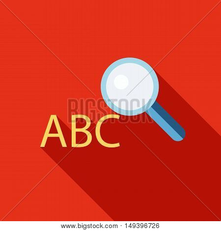 Search dictionary icon in flat style isolated with long shadow vector illustration