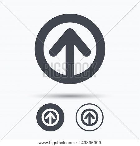 Upload icon. Load internet data symbol. Circle buttons with flat web icon on white background. Vector