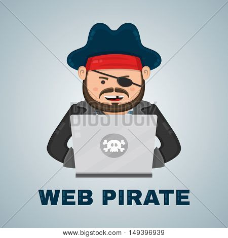 Internet pirate with a laptop computer. vector flat isolated character illustration. web security and download content concept
