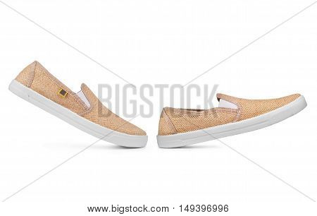 Pair of new light sneakers on a white background