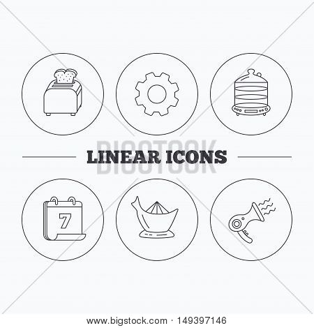 Steamer, hairdryer and toaster icons. Juicer linear signs. Flat cogwheel and calendar symbols. Linear icons in circle buttons. Vector