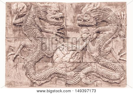Black and white dragon brick wall texture background / Wall texture background flooring interior rock stone old pattern clean concrete grid uneven design stack tile carve luck china grid paint taipei