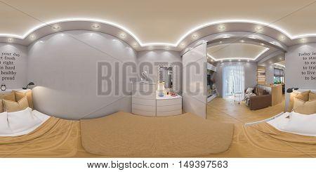 3D Rendering Spherical 360 Degrees, Seamless Panorama Of  Bedroom Interior