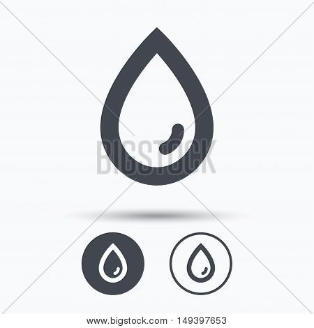 Water drop icon. Natural aqua symbol. Circle buttons with flat web icon on white background. Vector