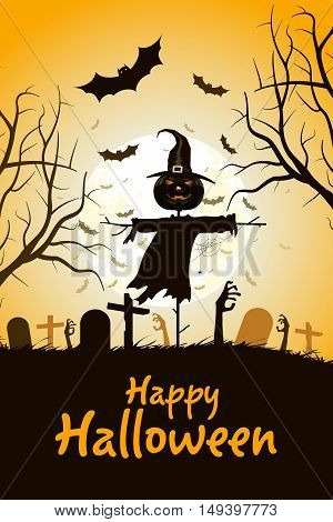 Halloween Zombie Party Poster. Holiday Card with Scarecrow and Zombie Hands. Halloween Invitation or Halloween Party Poster Backdrop
