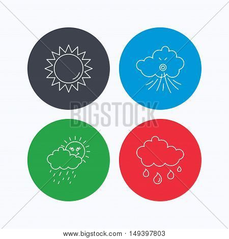 Weather, sun and wind icons. Rainy day linear sign. Linear icons on colored buttons. Flat web symbols. Vector