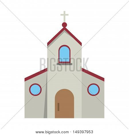 Church building icon. Religion faith and confession theme. Isolated design. Vector illustration