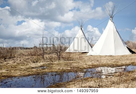 horizontal image of two large tipi's sitting on a field of dead grass and water puddles under a blue sky with white clouds in the spring time.