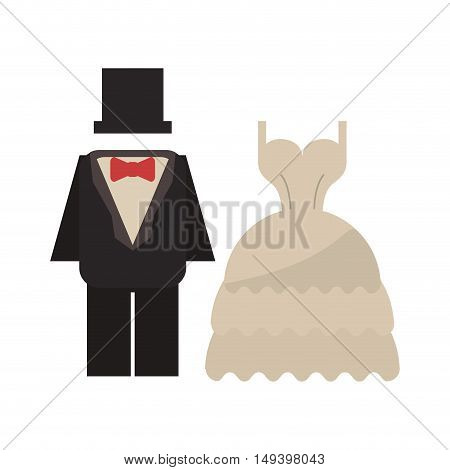 Suit and dress cloth icon. Wedding marriage love and celebration theme. Isolated design. Vector illustration