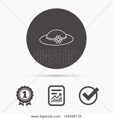 Female hat with flower icon. Women headdress sign. Report document, winner award and tick. Round circle button with icon. Vector
