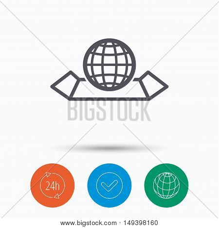 World map icon. Globe sign. Travel location symbol. Check tick, 24 hours service and internet globe. Linear icons on white background. Vector