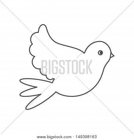 Dove icon. bird animal and peace theme. Isolated design. Vector illustration