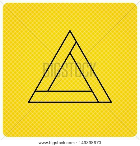 Emergency sign icon. Caution triangle sign. Linear icon on orange background. Vector