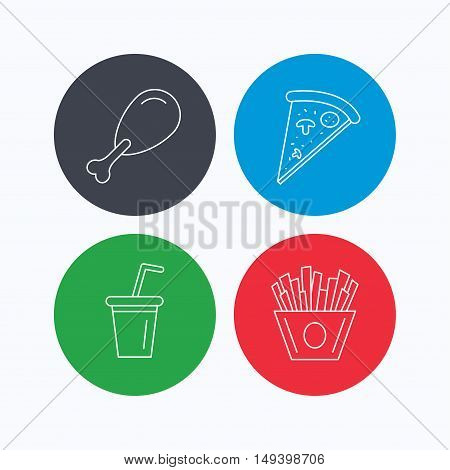 Pizza, pizza and soft drink icons. Chicken leg linear sign. Linear icons on colored buttons. Flat web symbols. Vector