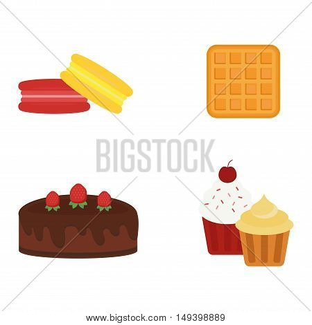 Biscuit different cakes isolated chocolate cookies on white and biscuit isolated vector food icon. Biscuit isolated sweet dessert and delicious cake isolated eating healthy cookie.