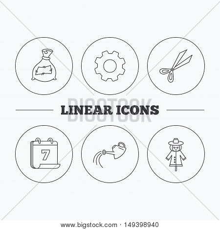 Scissors, watering can and watering can icons. Bag of fertilizer linear sign. Flat cogwheel and calendar symbols. Linear icons in circle buttons. Vector