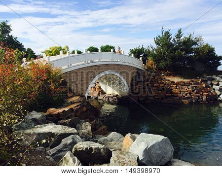 Bridge over the Puget Sound at Chinese Reconcilation Park in Tacoma, Washington.