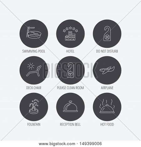 Hotel, swimming pool and beach deck chair icons. Reception bell, restaurant food and airplane linear signs. Do not disturb and clean room flat line icons. Linear icons in circle buttons. Flat web symbols. Vector