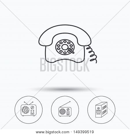 Radio, retro phone and pc case icons. Vintage radio linear sign. Linear icons in circle buttons. Flat web symbols. Vector