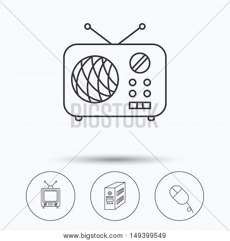 Radio, retro TV and PC mouse icons. PC case linear sign. Linear icons in circle buttons. Flat web symbols. Vector