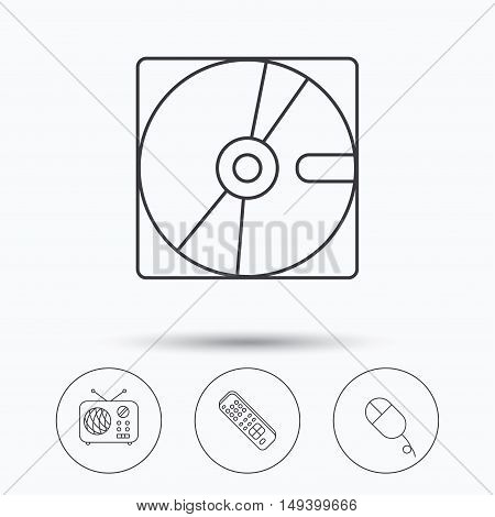 Hard disk, radio and TV remote icons. PC mouse linear sign. Linear icons in circle buttons. Flat web symbols. Vector