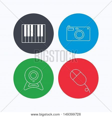 Piano, web camera and photo camera icons. PC mouse linear sign. Linear icons on colored buttons. Flat web symbols. Vector