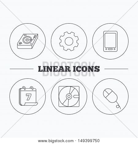 Tablet PC, Hard disk and pc mouse icons. Club music linear sign. Flat cogwheel and calendar symbols. Linear icons in circle buttons. Vector
