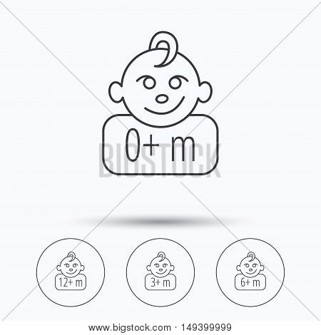 Infant child, 0 months child and toddler baby icons. 0-12 months child linear sign. Linear icons in circle buttons. Flat web symbols. Vector