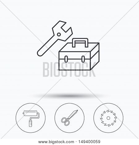 Scissors, paint roller and repair tools icons. Circular saw linear sign. Linear icons in circle buttons. Flat web symbols. Vector