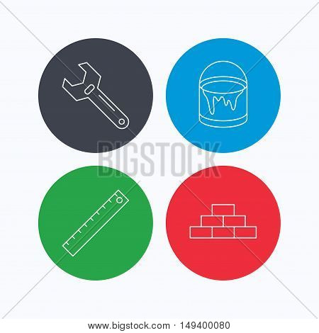 Brickwork, measurement and adjustable wrench icons. Bucket of paint linear sign. Linear icons on colored buttons. Flat web symbols. Vector