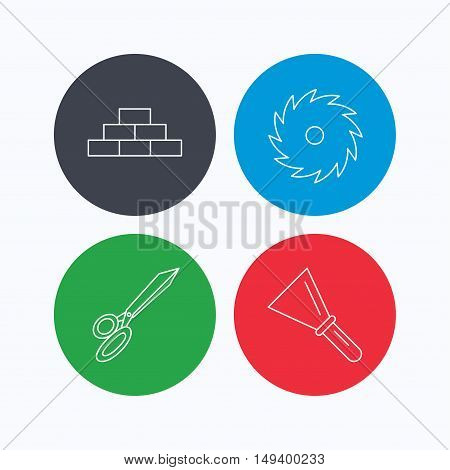 Wall, spatula and scissors icons. Circular saw linear sign. Linear icons on colored buttons. Flat web symbols. Vector