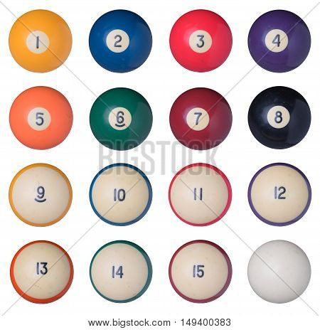 Old billiard balls set isolated on white background