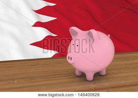 Bahrain Finance Concept - Piggybank In Front Of Bahraini Flag 3D Illustration